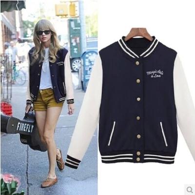 8972 # 2014 Autumn European leg of the same paragraph College Wind Star baseball uniform baseball jersey cardigan sweater jacket(China (Mainland))