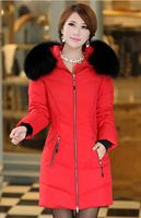 ON Sale promotion 2014 new coat with fur collared Fleece Hoodies Large fur collar slim medium-long down wind coat female  HOT