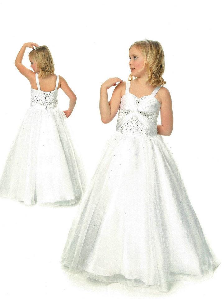 Handmade Straps Beading Ruched White Little Girls Dresses 2015(China (Mainland))