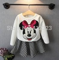 2014 new spring full children girls dress sets kids clothing micky shirt+ Princess dresses sets  fation suits s249