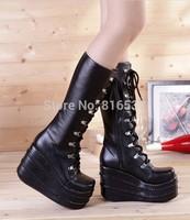 Free shipping Fourever-sd lolita 11cm platform shoes black shoelaces boots