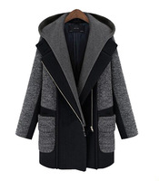 2014 New Fashion new winter coats long hooded diagonal zipper wool jacket coat Outerwear Wool Coat hot Free shipping