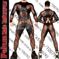 Hot New Sexy  Men Faux Leather Mesh Insert Catsuit Fetish Male Guy Bodysuit Jumpsuit