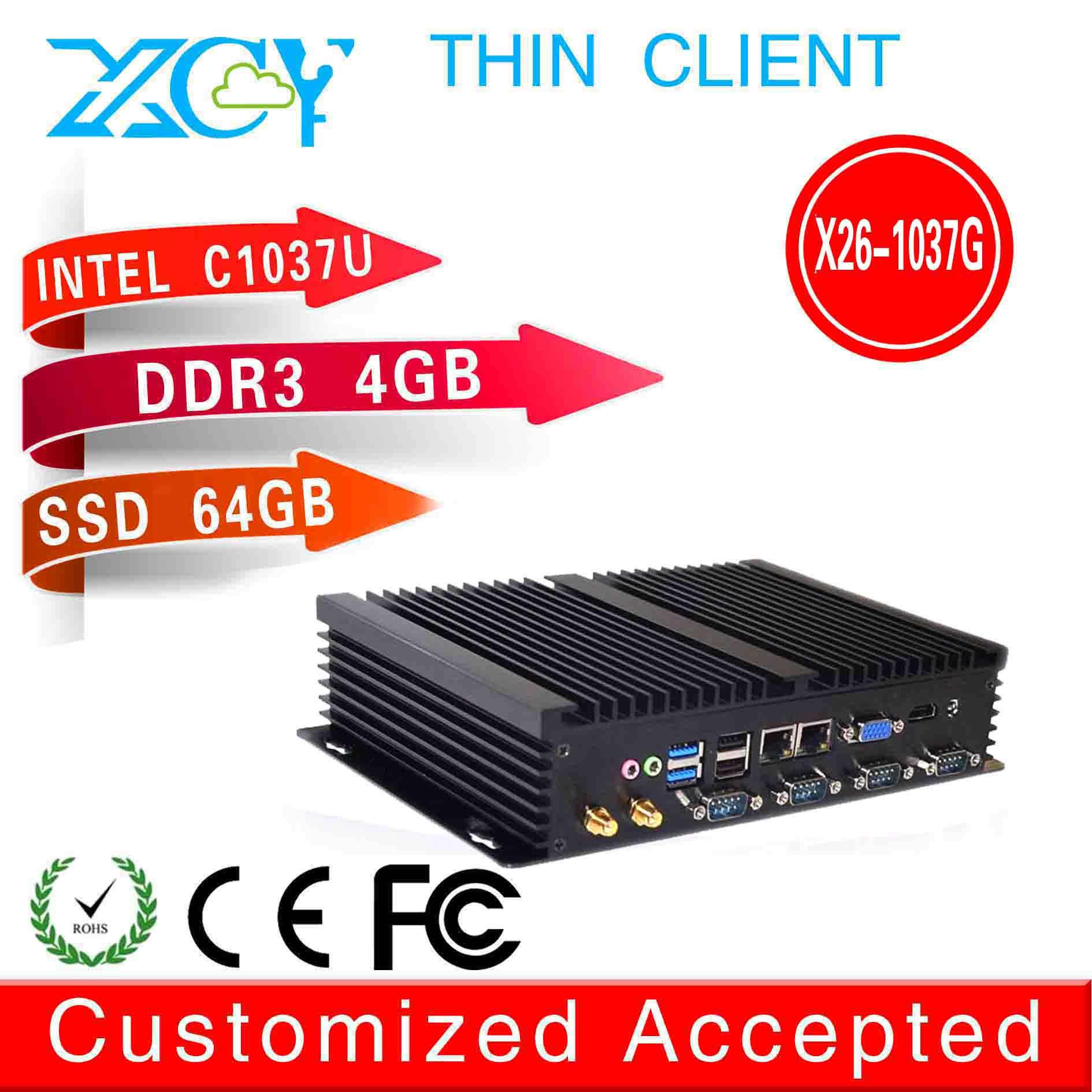 1080P Slim desktop oc 1037u network x26-1037G 2 lan fanless desktop thin client 4g ram 64g ssd support wireless mouse keyboard(China (Mainland))