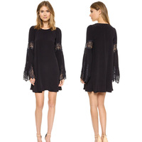 Women Round Neck Lace Splicing Flare Sleeve Hollow Out A Line Bodycon Mini Dress