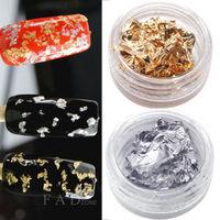 12 Pot Nail Art Gold & Silver Foils Tip Decoration Paillette Flake Glitter Decor