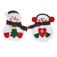 20PCS Best Xmas Dinner Decor Christmas Santa Claus Kitchen Cutlery Suit Tableware Holder Pockets Knife&Fork Snowman Gift Bag