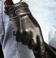 2 pairs Winter Black Fashion Men's Mittens Button Plus Velvet Windproof Motorcycle Leather Gloves Men Gloves