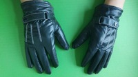 Mens Black Soft Leather Gloves Mittens Riding Sports Cycle Gloves Sports Skating