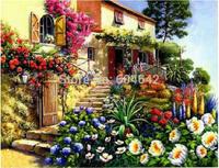 "Wall Home Decoration Cross Stitch Precision Printing "" Summer Villa "" Cross-Stitch Kit , DIY Cross Stitch Sets"