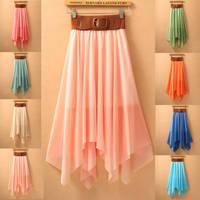2014 New chiffon Irregular skirt with bowknot belt beach resort fashion anomaly style Mid-Calf
