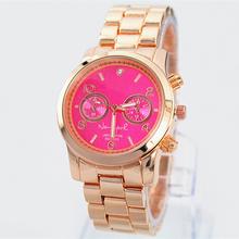 A pcs lots pink dial 2014 New Arrival Fashion Women Gold Quartz watch Crystal Rhinestone Lady