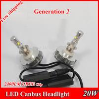 Free Shipping G2 Generation 2 Car CREE LED H1 H3 H7 H8 H9 H11 9005/6 Headlight/Headlamps/Bulbs 20W 2400LM 6500K