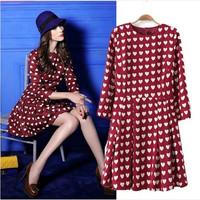 2014 fashion Women gengtle ladies girs Autumn spring Modern Celeb Heart Print seven Sleeve Dress vestidos wine red color S M L