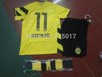 Dortmund BVB Dortmund Jersey 14/15 Soccer Jerseys Borussia Dortmund Trikot Futbol REUS Hummels Mkhitaryan Jersey Schwarz  Gelb