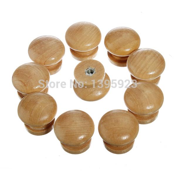 10pcs/Pack Natural Wooden Cabinet Drawer Wardrobe Door Knob Pull Handle Hardware Plain(China (Mainland))