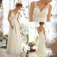 Top Online V Neck Sleeveless with Crystal Beading Empire Waist Chiffon Beach Wedding Dresses 2015 Lace