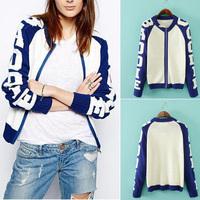 Women's Trendy Contrast Color Letter Sleeve Splice Zipper Crew neck Short Casual Jumper Pullover Knit Sweater Coat Tops NEW