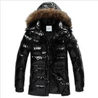 Men Down Jacket 2014 New Winter Casual Hoodie Fur Collar Down Jacket Warm Plus Thick Glossy Coats Jackets M-XXXL