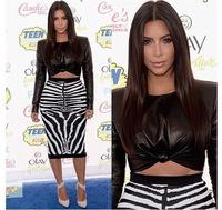Celebrity Kim Kardashian two piece pencil dress black crop top zebra print bodycon dress set sexy dress clubwear