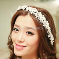 2015 korean Style fashion handmade pearl tiaras rhinestone wedding bridal tiara wholesale wedding crown frontlet  jewelry