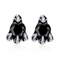 New 2014 black rhinestone stud earrings for girl boy punk stainless steel jewelry