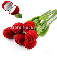 D19 hot-selling newest 1pcs  Red Rose Engagement Wedding Ring Earrings Keepsake Pendants Jewelry Gift Box  Free Shipping
