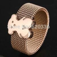 rose plated titanium steel bear rings