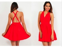 Women fashion sleeveless sexy hollow red casual dress sexy deep-V neck mini dress bandage