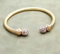 Min 1pc Gold Plated Crystal Rhinestone Twisted Bangle Bohemia Style Adjustable Twisted Bangle SZ014