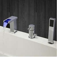 Chrome Finish Three Holes Widespread LED 3 Colors Square Waterfall Bathroom Bathtub Faucet with Hand Shower