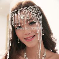 western style gorgeous macrame crystal frontlet chain tiaras bridal diadem wedding dress rhinestone crown jewelry wholesale