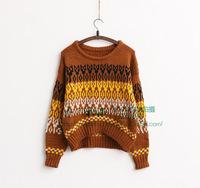 2014  new women fashion restoring ancient ways round neck long sleeve short  sweater