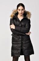 2014 New Fashion Brand Womens Long Parka Jacket Black 100% Down Coat Winter Hooded Real Raccoon Fur Master Piece GOBI Denali 666