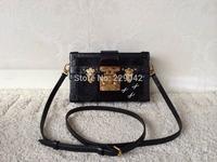 New arrival   Trunk box cowhide leather handles handbag bags  real leather shoulder Handbags