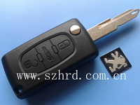 peugeot 206 folding flip Key Blank 3 Buttons With Battery Location free shipping