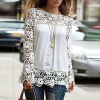 2014 Women Femininas Blusas Chiffon Blouses Shirt Casual Long Sleeve Lace Crochet Ladies Plus Size Shirt