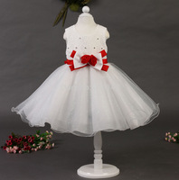 Wholesale Girls flower dress!Princess Party Bow rose floral beading dress girl dress free shipping 6pcs/lot TY-L6