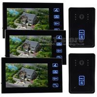 7inch LCD Display Video Door Phone Doorbell Touch Key Camera Monitor Security System RFID Keyfobs Home Entry Intercom 2 V 3