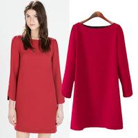 Women autumn spring graceful solid red vestido Modern Nine Sleeve Pencil Basic Casual formal slim Dress Multi Color S-M