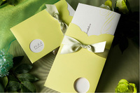 Custom 2014 New Grass Green Lace Bow Wedding Invitation Cards with Envolope and Inner Card 200 Pieces