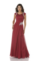 Burgundy Scoop Rhinestone Flower Embellished Cap Sleeve Ruffle Zipper Custom Made Formal Chiffon Evening Dresses
