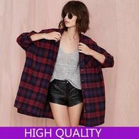 Autumn Winter 2015 New Shirt Long Sleeve Turn-down Collar Single-breasted Plaid Slim Fit Women T-shirt Shirt Blouse Coats Blusas
