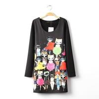 New Arrival 2014 Cute Cartoon Color Cat Head Print Dress Long Sleeve Slim Women Brand Dress Vestidos Designer Prom Dresses
