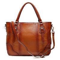 2015  new arrival Pocket Solid Hot Sale Real Women 100% Genuine Leather Feminina Handbag Handmade Cowhide Shoulder Bags