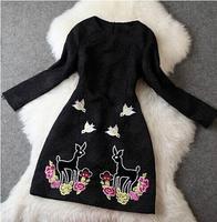 2014 New Space Cotton Winter Dress Cartoon Deer Long Sleeve Embroidery Desigual Elegant Vestidos Evening Dresses Hot Sale 2292