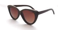 2014 New Fashion Bamboo Brown Frame Gradient Brown polarized Lens for women men unisex cat eye shape vintage sunglasses 6090BGB