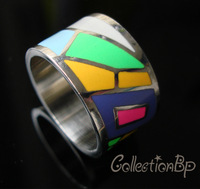 Great Discounts! ER0133#  Newest Brand Product Hot Selling Silver Width Stainless Steel  Enamel Jewelry Rings, Scarf Ring