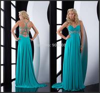 2014 Runway Dress Beautiful Cross Beaded Back Fashion Spaghetti Strap Sleeveless Evening Dress Vestidos Long Evening Dresses
