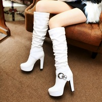 2014 new arrive  Knee-high boots PU women's boots  round toe high heels rhinestone short plush boots for women  big size 66-6#